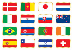 Flags set. Football World cup (groups E F G H) Royalty Free Stock Photos