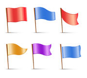 Flags, set of  multi colored pins Royalty Free Stock Image