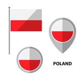 Flags set-18. Set of Poland flag and map pointer icon. Design elements for stickers or flyers. Flat design royalty free illustration
