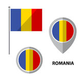Flags set-11. Set of Romania flag and map pointer icon. Design elements for stickers or flyers. Flat design royalty free illustration