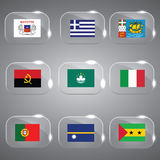 Flags Set of the world. Beautiful Flags of the world flags set Vector illustration in glass Stock Image