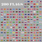 200 Flags set of the world. 200 flags set. Universal flags set to use for web and mobile UI illustration vector illustration