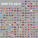 200 Flags set of the world. 200 flags set. Universal flags set to use for web and mobile UI vector illustration Royalty Free Stock Photo