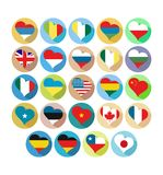 Flags in the shape of heart icons  country symbol isolated Royalty Free Stock Photo