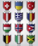 Flags shield collection Stock Photography
