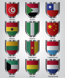 Flags shield collection Stock Images