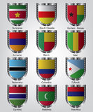 Flags shield collection Royalty Free Stock Photos
