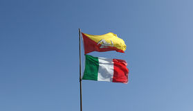 Flags of Sicily and Italy Stock Images
