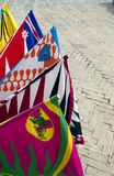 Flags, siena. Colourfull banners and flags during Palio parade Siena Italy Royalty Free Stock Photos