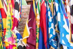 Flags of the Siena contrade districts Palio festival background, in Siena, Tuscany, Italy. Flags of the Siena contrade districts, Palio festival background, in stock image