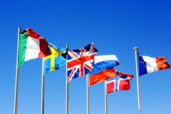 The flags of six countries Stock Photography