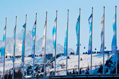 Flags at the skating rink Medeo in Almaty Royalty Free Stock Image