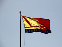 Flags in the sky. Flag in Baltimore inner harbor Royalty Free Stock Photography