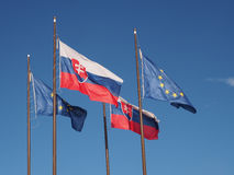 Flags of Slovakia and Europian Union Stock Images
