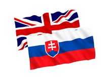 Flags of Slovakia and Great Britain on a white background. National fabric flags of Slovakia and Great Britain isolated on white background. 3d rendering vector illustration