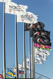 Flags at Sochi autodrom. Sochi, Russia -10 November 2014 : Formula One, Russian Grand Prix,  Sochi autodrom , 16 stage Royalty Free Stock Photos