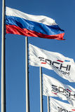 Flags at Sochi autodrom. Sochi, Russia -10 November 2014 : Formula One, Russian Grand Prix,  Sochi autodrom, 16 stage Royalty Free Stock Image
