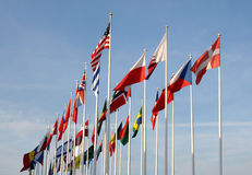 Flags of some countries waving Stock Photos