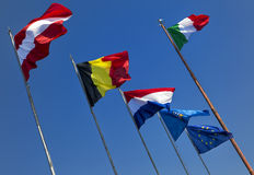 Flags of some member states of the European Union. Royalty Free Stock Photography