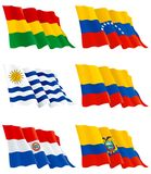 Flags of South America. Vector set of Venezuelan, Bolivian,  Paraguayan, Colombian, Ecuadorian and Uruguay flags. There are no meshes in this images. Set 2 Stock Photo