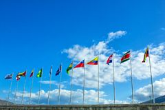 Flags of South America, Andean Community, on the background the sky. Thirteen flags. royalty free stock images