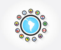 Flags from South America. Set of south american flags in circle icon with the shape of south america Royalty Free Stock Photo