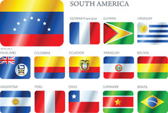 Flags South America - set of buttons Royalty Free Stock Photography