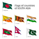 Flags of South Asian countries Royalty Free Stock Images