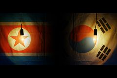 Flags of South and North Korea royalty free stock photos