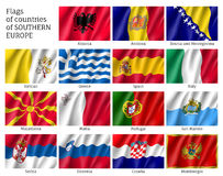 Flags of Southern Europe countries Royalty Free Stock Photography