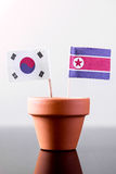 Flags of southkorea and northkorea Stock Image
