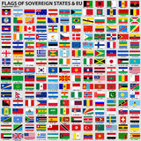 Flags of Sovereign States & EU. Vector set of Flags of world sovereign states & EU (September 2011). New flags of Libya, South Sudan, Myanmar, Malawi Stock Images