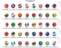 Flags of sovereign states (series). Flags of sovereign states projected as spheres on a white background. All UN member states. Part of a series. See portfolio Stock Photo