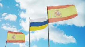 Flags of Spain and the Canary Islands. Are fluttering in the wind stock video footage