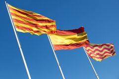 Flags of Spain, Catalonia and Tarragona city Stock Photos