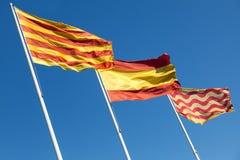 Flags of Spain, Catalonia and Tarragona city Stock Photos