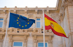 Flags of Spain and European Community Stock Photos
