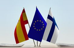 Flags of Spain European Union and Finland. Desktop flags of Spain European Union and Finland Royalty Free Stock Photos
