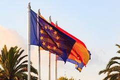 Flags of Spain, Salou, Catalonia, European Union Stock Images