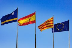 Flags of Spain, Salou, Catalonia, European Union Royalty Free Stock Photography