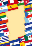 Spanish speaking countries flags. Flags of Spanish speaking countries with background for text stock illustration