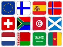 Flags square icon set 3 Stock Photography