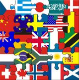 Flags in a square jigsaw stock image