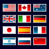 Flags Stamps Royalty Free Stock Photo