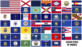 Flags States of America Royalty Free Stock Photos