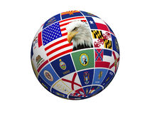 Flags States of America in the form of globe Royalty Free Stock Photography