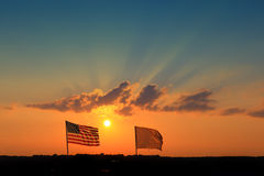 Flags Sunset Royalty Free Stock Images