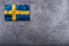 Flags of the Sweden on concrete background Royalty Free Stock Photo