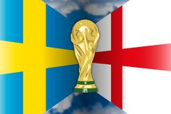 Sweden VS England, Russia 2018, quarter finals. Flags of Sweden and England, quarter finals, Russia 2018 world cup football, vector illustration Stock Photo
