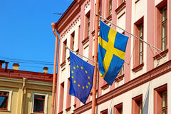 Flags of Sweden and the European Union Royalty Free Stock Image